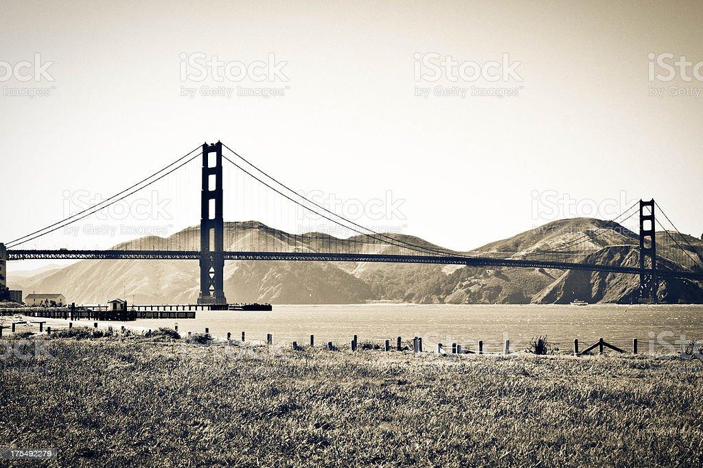 Retro-Styled San Francisco Golden Gate Bridge stock photo