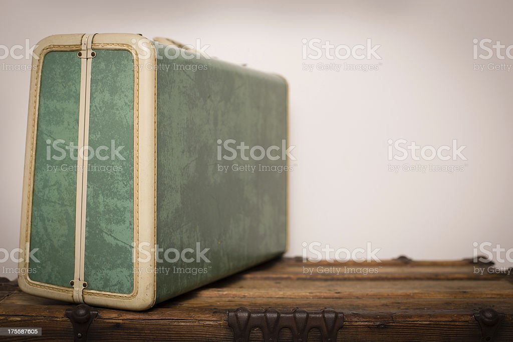 Retro,Suitcase Sitting on Wood Trunk, With Copy Space stock photo
