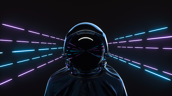 Retrowave style 3d illustration. Futuristic astronaut on neon background. Advanced technology concept.
