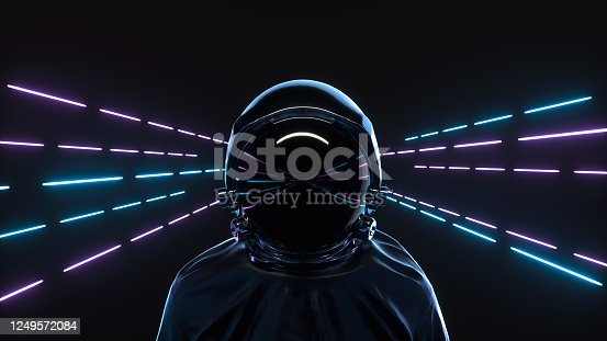 Retrowave style 3d illustration. Futuristic astronaut on neon background. Advanced technology concept.