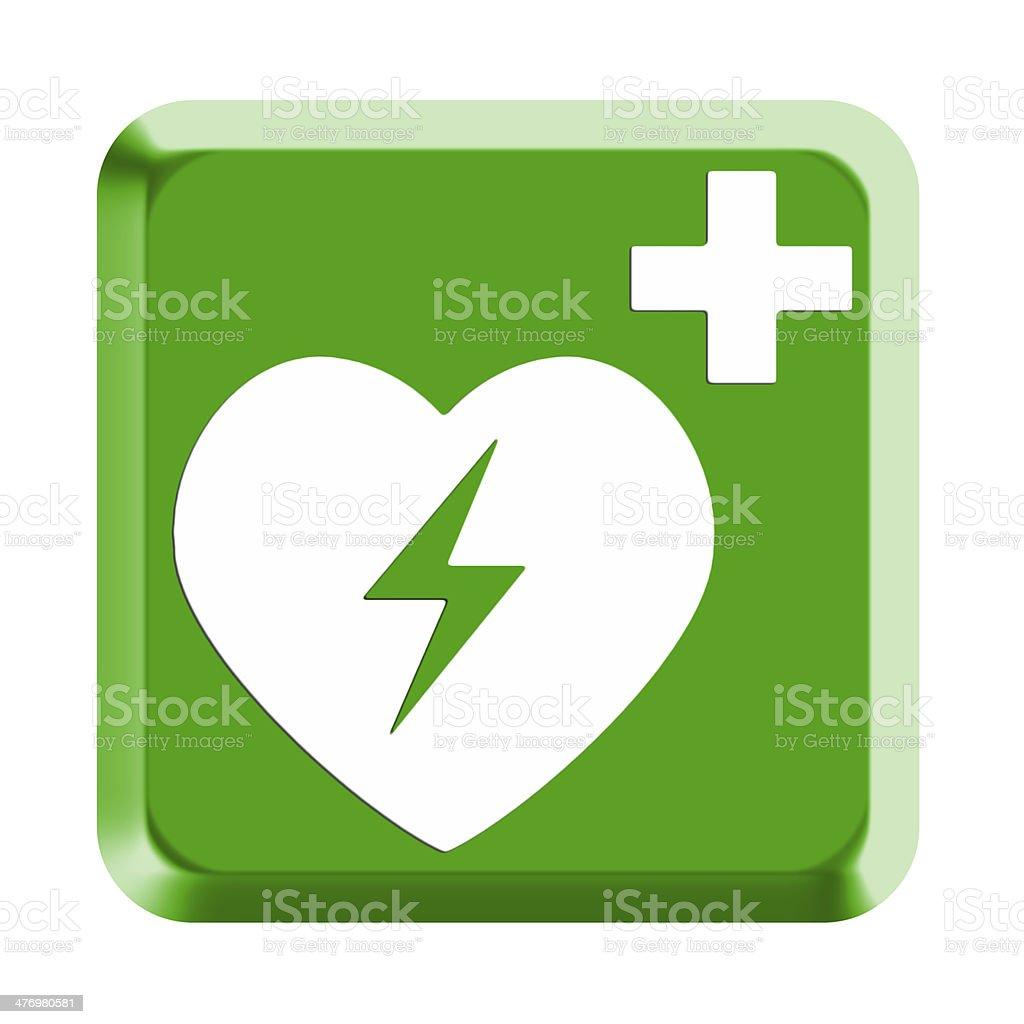 Rettungszeichen Defibrillator AED stock photo
