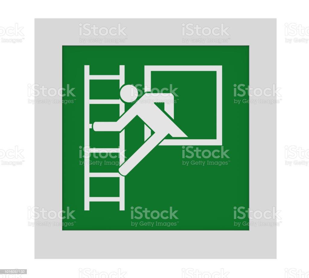 (Notausstieg Mit Fluchtleiter) Rettungszeichen Nach ASR a1. (3) / ISO. Vorderansicht, – Foto