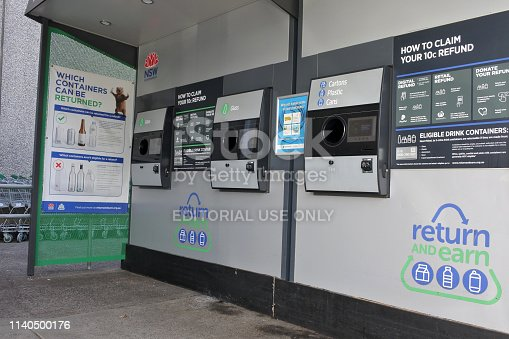 Sydney, Australia - February 21 2019:Return and Earn vending machine in Sydney New South Wales, Australia.It's the largest litter reduction scheme in NSW state to reducing the volume of litter by 40% by 2020
