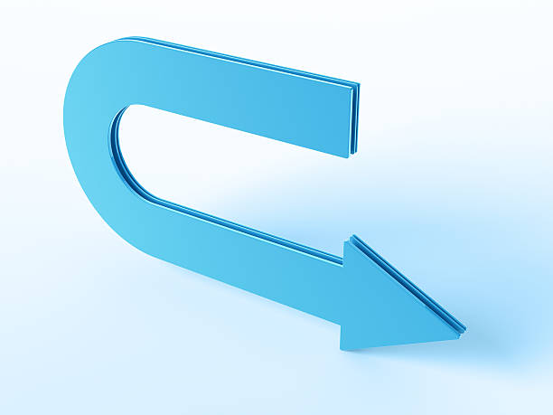 """Return Arrow """"3D Render of a blue big arrow sign, direction to the right. Very high resolution available! Use it for Your own composings!Related images:"""" abstract 3d stock pictures, royalty-free photos & images"""