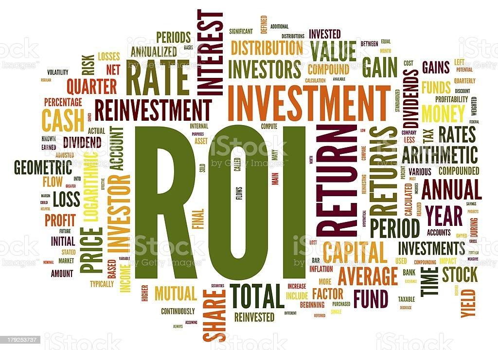 ROI - return of invertelment concept in word tag royalty-free stock photo