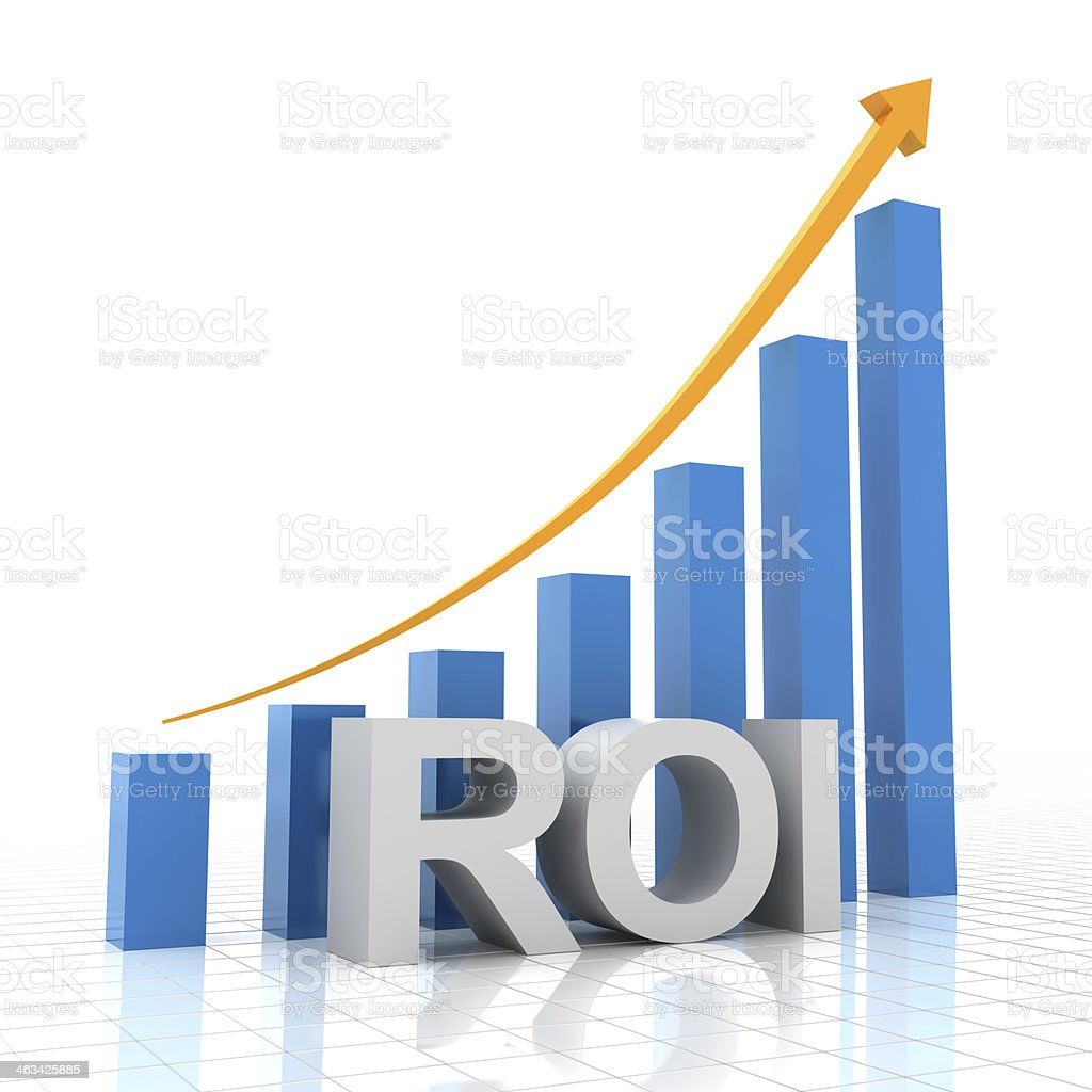 Return on investment chart, 3d render stock photo