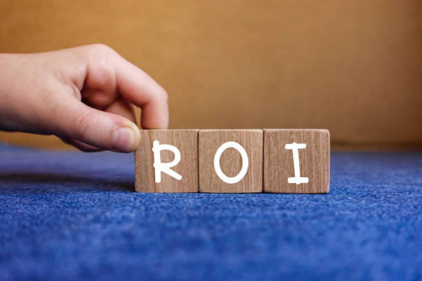 ROI - Return on Investment ,concept on cubes stock photo