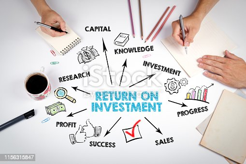 Return on Investment Concept. The meeting at the white office table