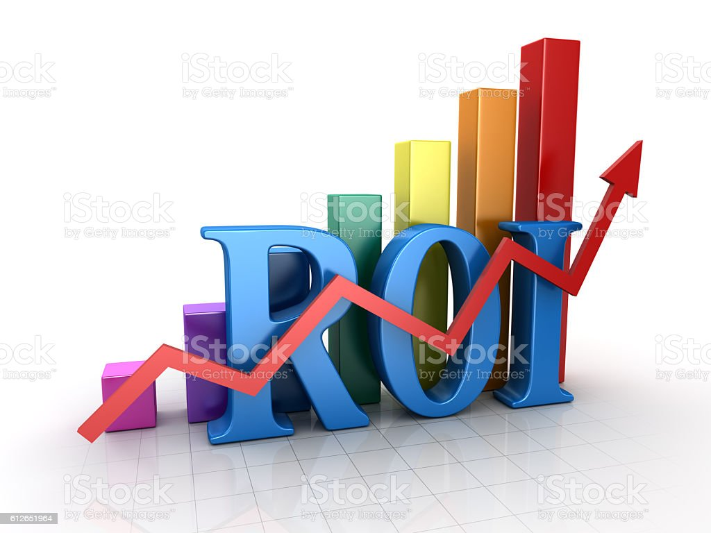 Return on investment with chart stock photo
