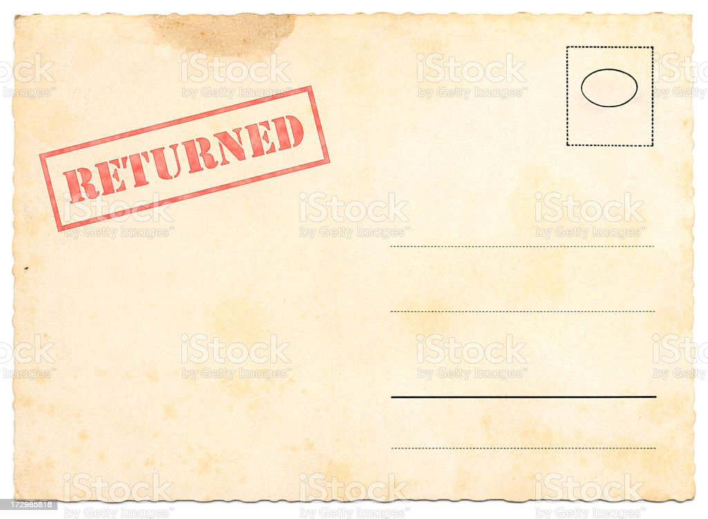 Returned Postcard royalty-free stock photo