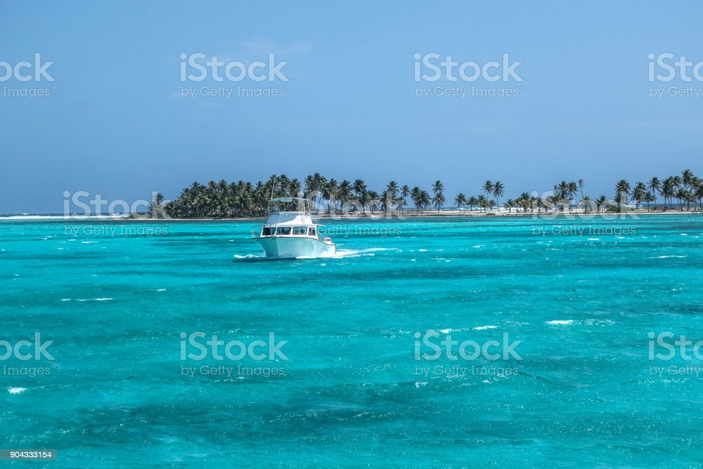 Returning dive boat stock photo