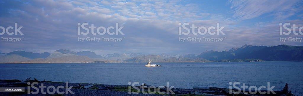 Returning Fishing Boat, Homer, Alaska stock photo