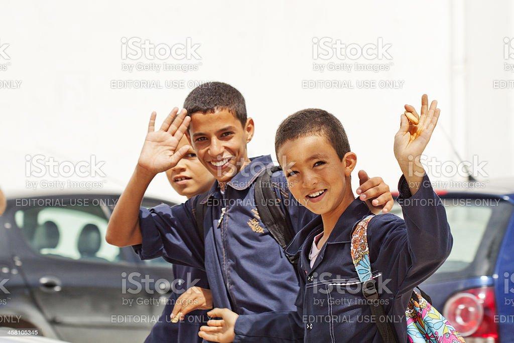Returning from school stock photo