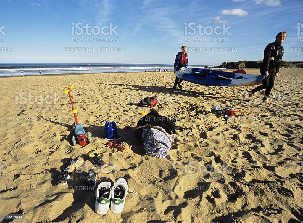 Returning onshore with the kayak royalty-free stock photo
