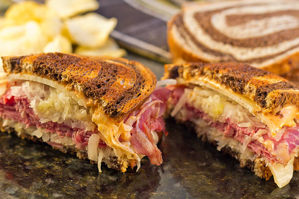 reuben chips pickle - pastrami stock pictures, royalty-free photos & images