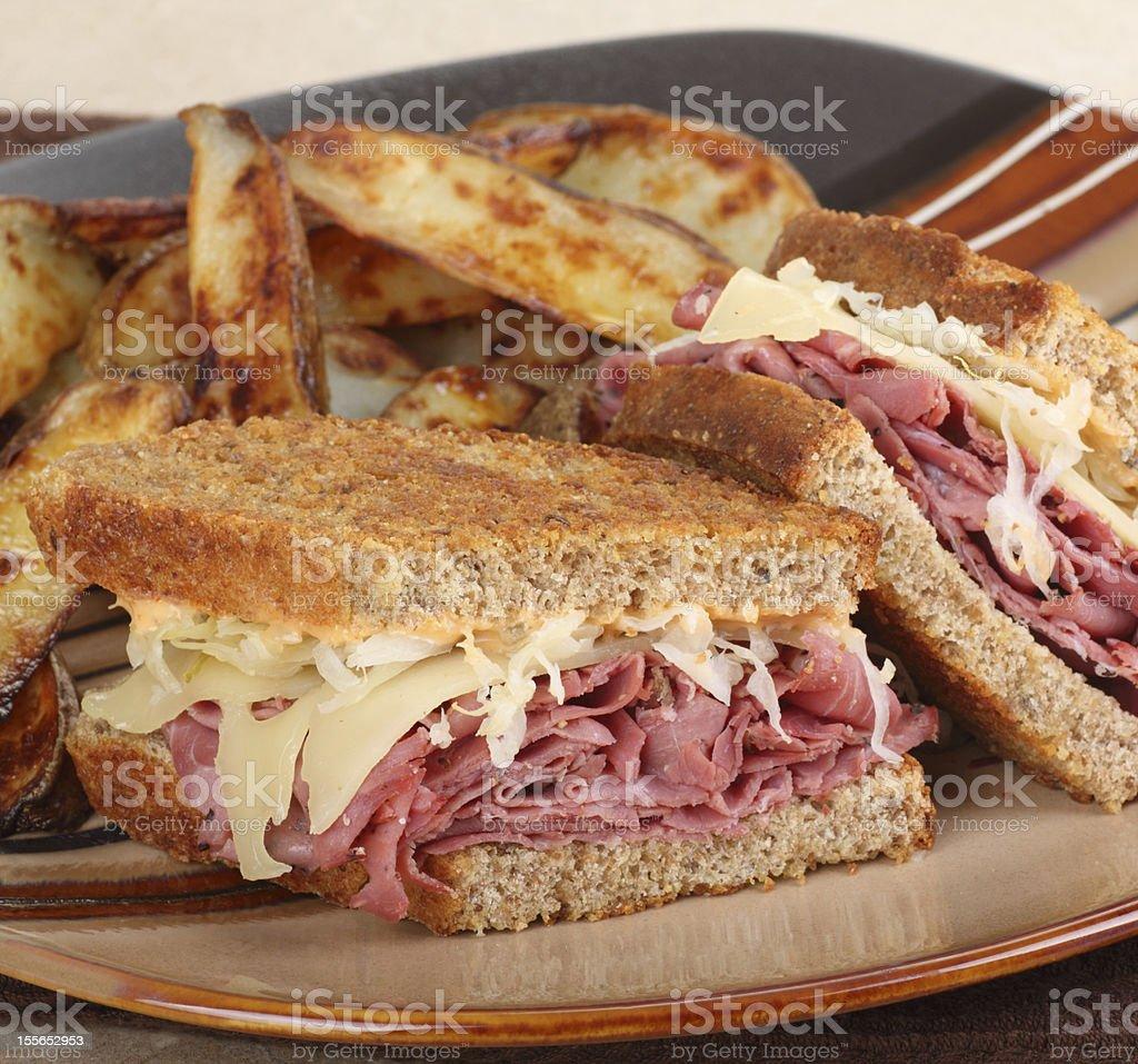 Reuben Sandwich Closeup stock photo