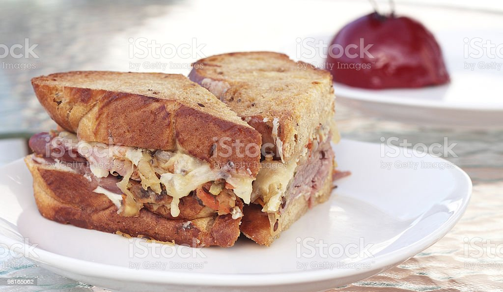 Reuben Sandwich on Toasted Rye Brioche royalty-free stock photo