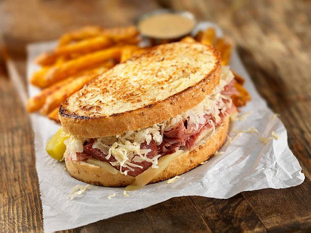 reuben sandwich - pastrami stock pictures, royalty-free photos & images