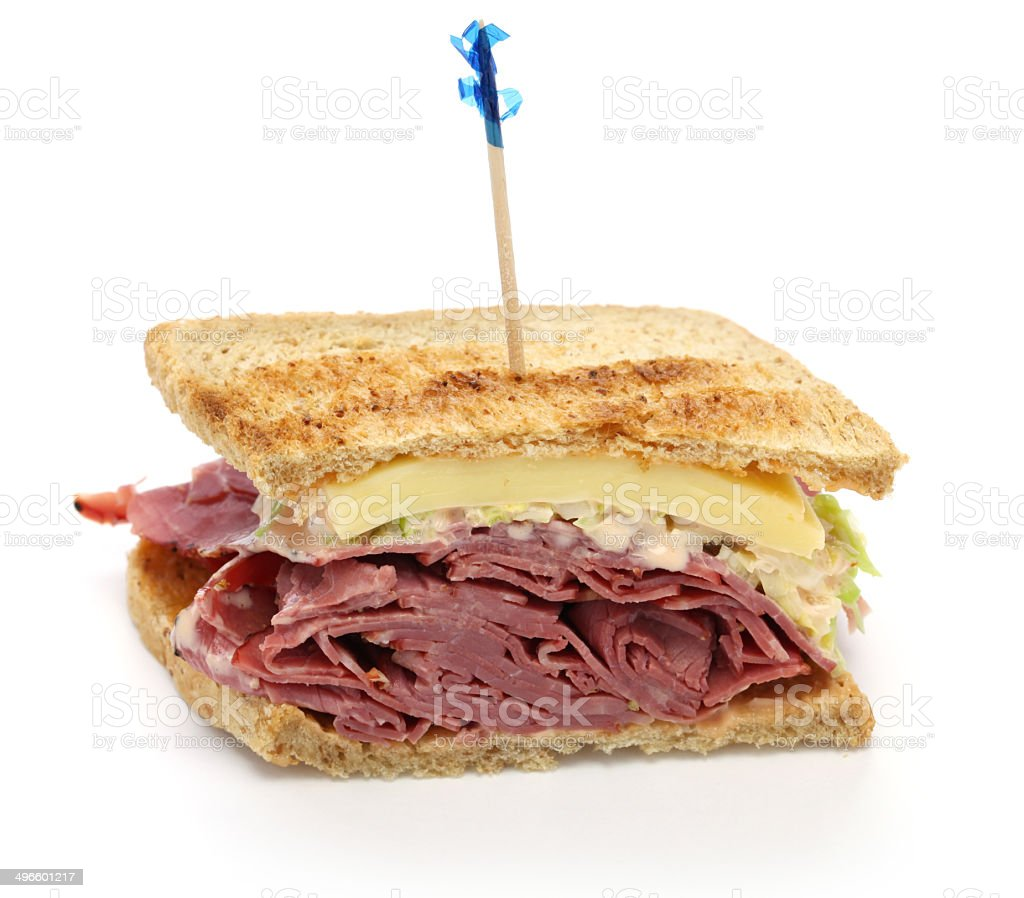 reuben sandwich with pastrami and swiss cheese stock photo