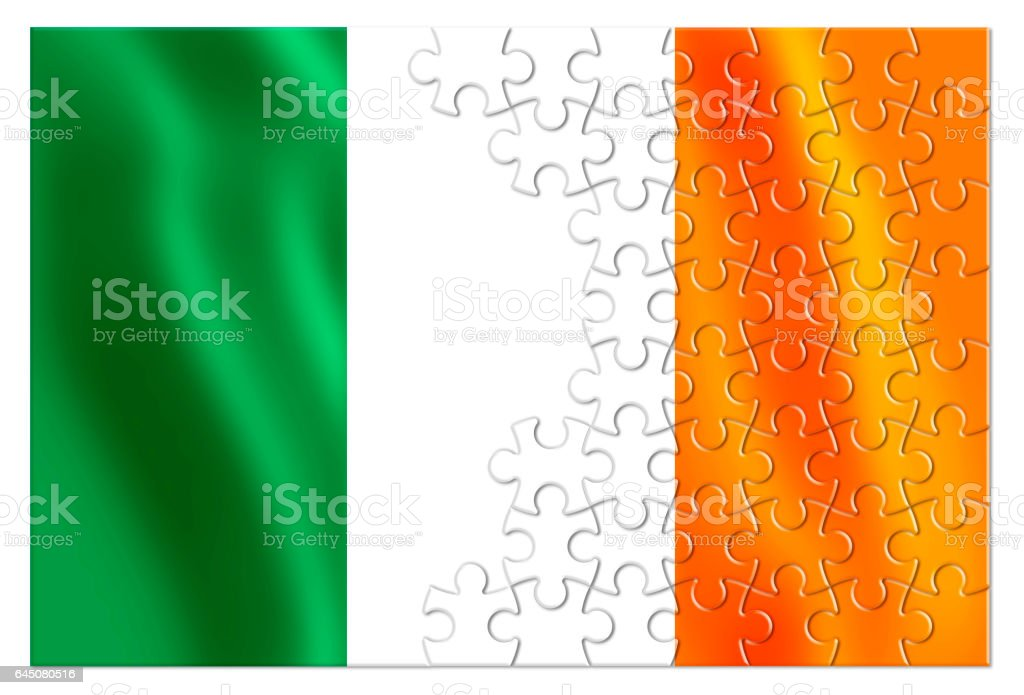Reunification of Ireland - concept image in jigsaw puzzle shape stock photo