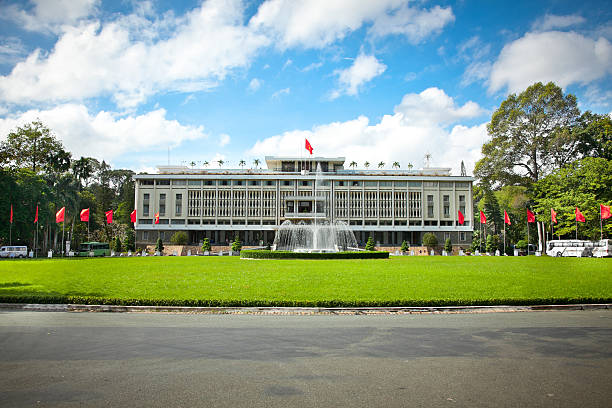 Reunification Palace in Ho Chi Minh City, Vietnam. Reunification Palace, landmark in Ho Chi Minh City, Vietnam or Independence Palace (DINH THONG NHAT)  was home and workplace of President of South Vietnam. major military rank stock pictures, royalty-free photos & images