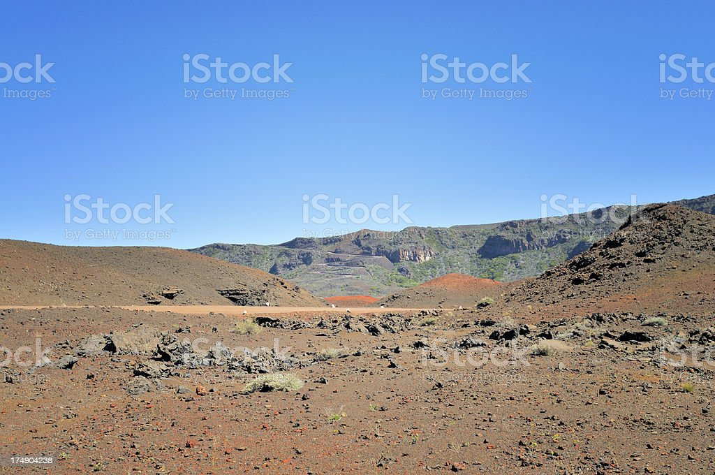 Reunion Crater Winding Road royalty-free stock photo