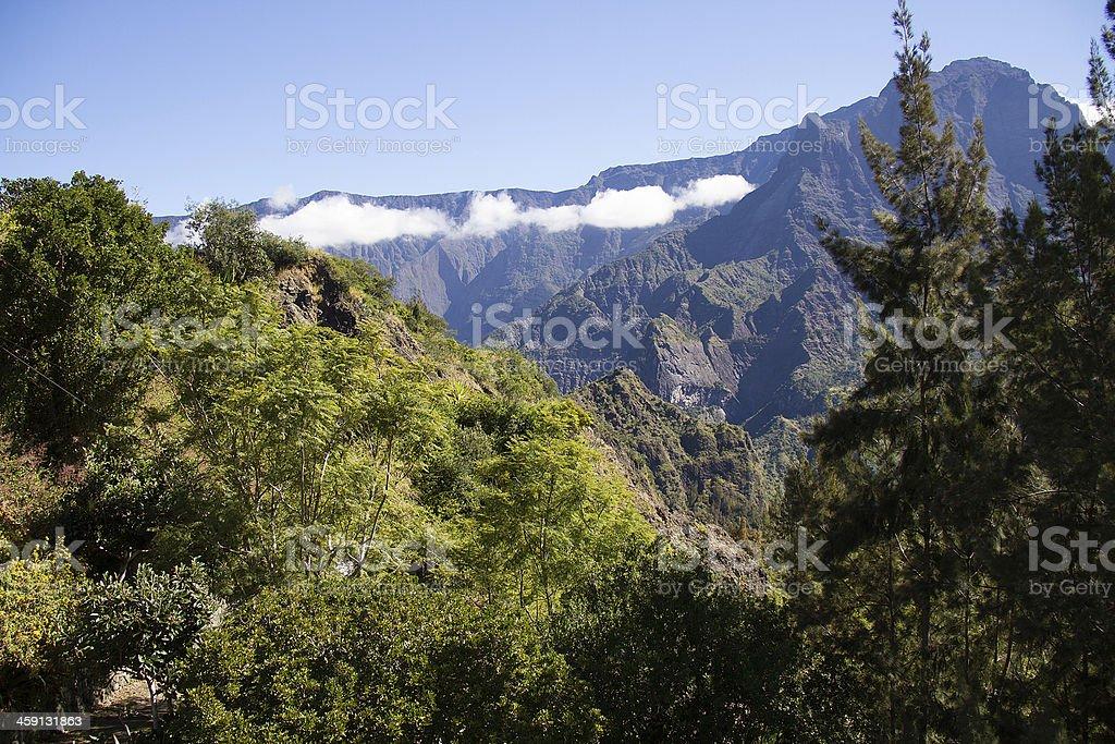 Reunion Island, Cilaos, mountain range, cloud panorama sur les chaines de montagne depuis le village de Cilaos. Awe Stock Photo