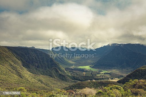 green valleys in reunion island, indian ocean, mascarene islands, french overseas territory.