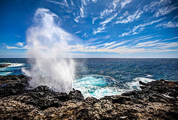 "reunion island seascape - 'le soffleur"" - reunion stock photos and pictures"