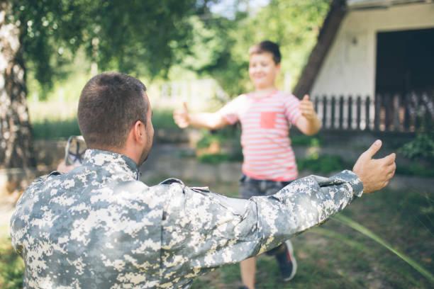 Reuniting after deployment stock photo