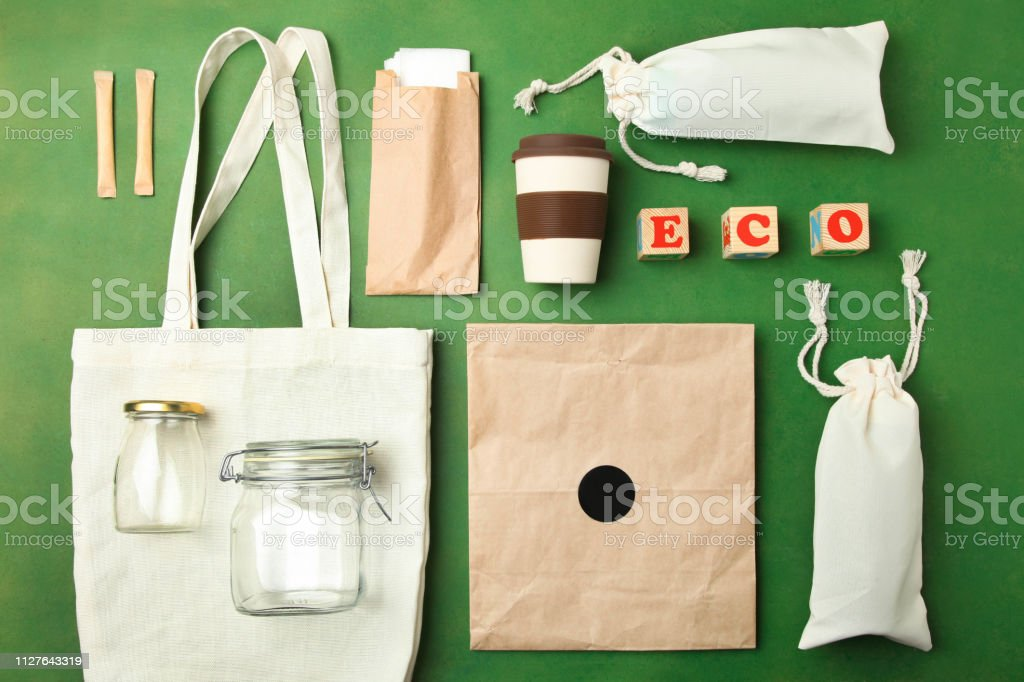 Reusable bamboo glass, eco bag and other various recyclable stock photo