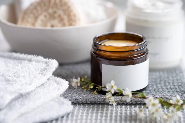 Reusable, Handmade Makeup Remover Pads and Natural Makeup Remover Balm stock photo