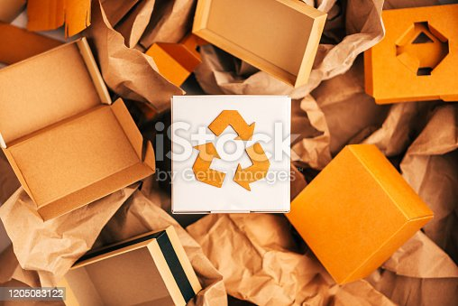Reusable paper and cardboard for packing,Recycle sign, nature-friendly concept, eco-conscious life