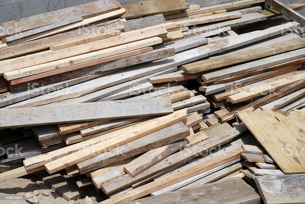 Reusable scrap lumber royalty-free stock photo
