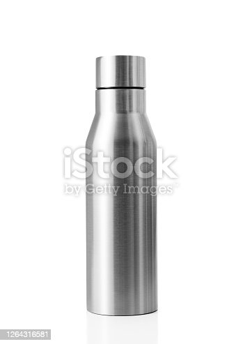 A reusable stainless steel water bottle with clipping path.