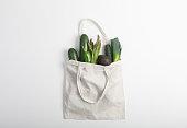 istock Reusable zero waste textile product bag, top view on white background 1155496868