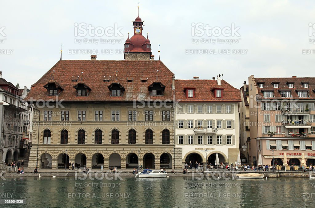 Reuss river and Old Town, Lucerne, Switzerland. stock photo