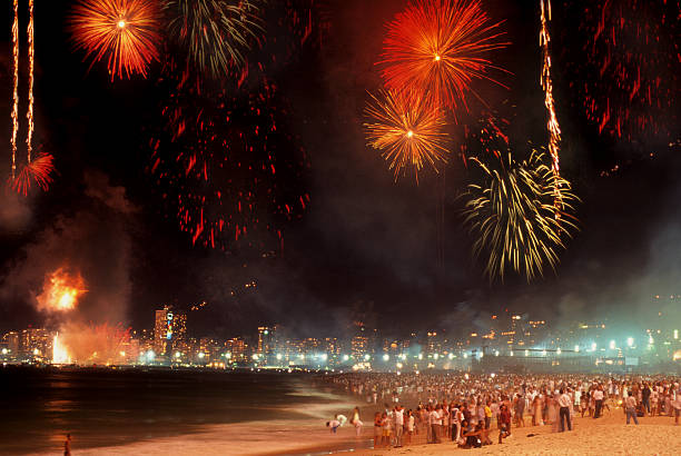 Reveillon in Copacabana Beach New year celebration in Copacabana beach, Rio de Janeiro reveillon stock pictures, royalty-free photos & images