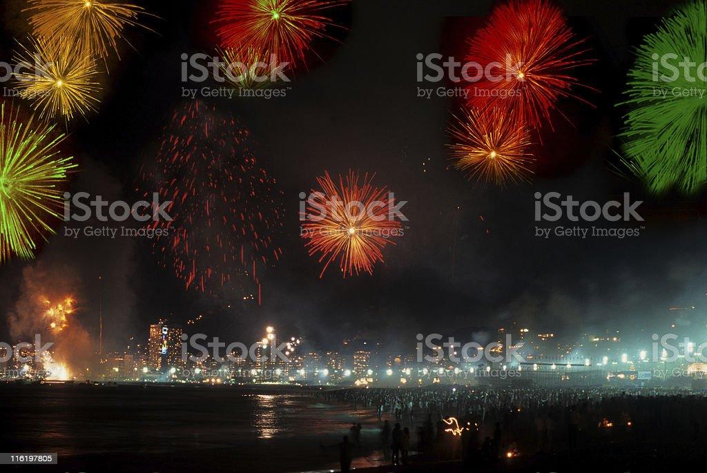 Reveillon in Copacabana Beach royalty-free stock photo