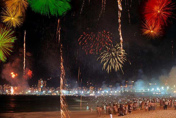 Reveillon in Copacabana Beach Rio de Janeiro reveillon stock pictures, royalty-free photos & images