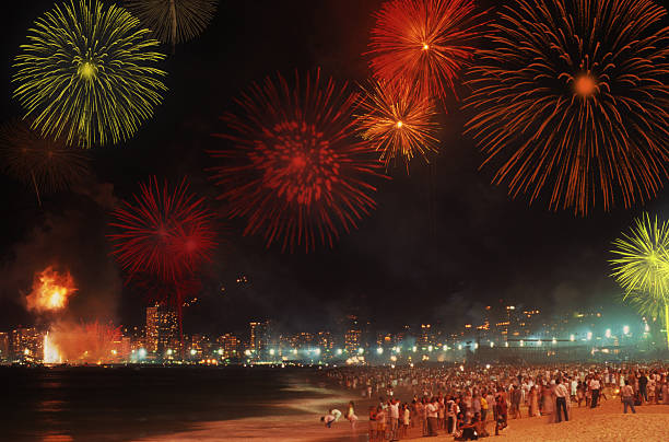 Reveillon in Copacabana Beach New year commemoration in Rio de Janeiro reveillon stock pictures, royalty-free photos & images