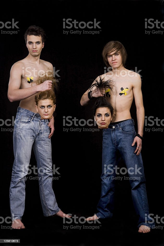Revenge of guys in the jeans royalty-free stock photo
