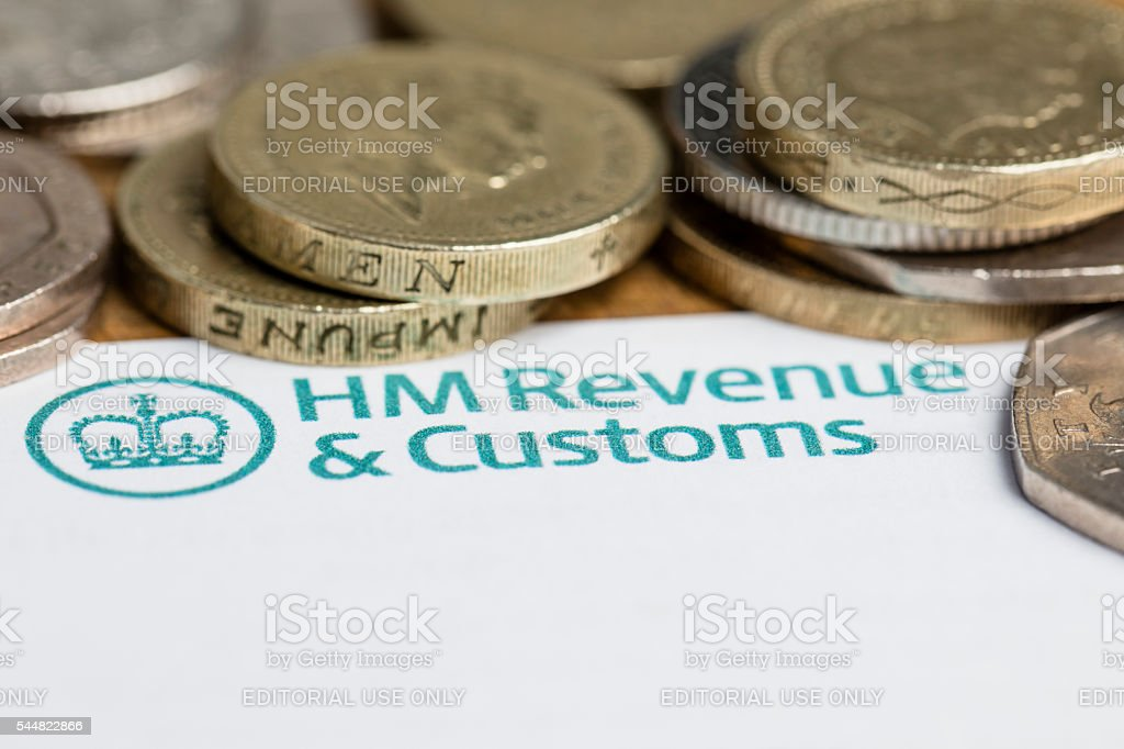 HM Revenue and customs forms and cash stock photo
