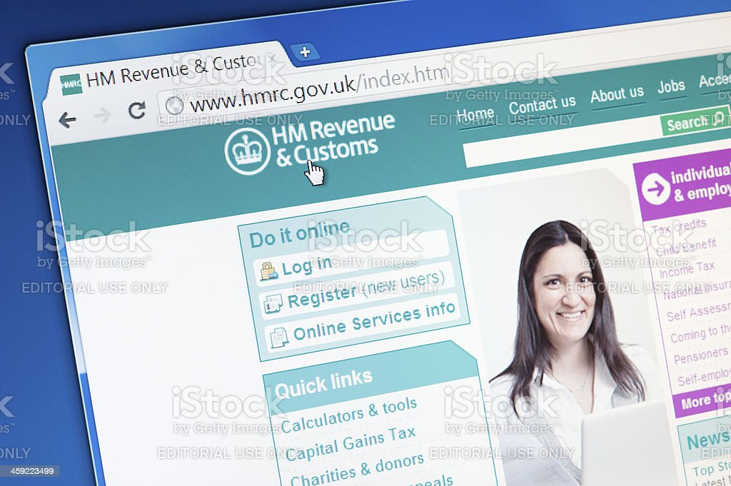 HM Revenue and Customs main page on the web browser stock photo