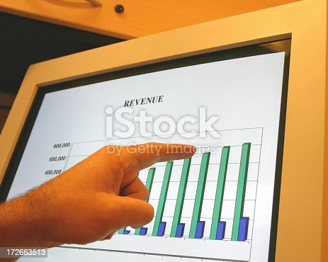 a businessman pointing at a computer screen