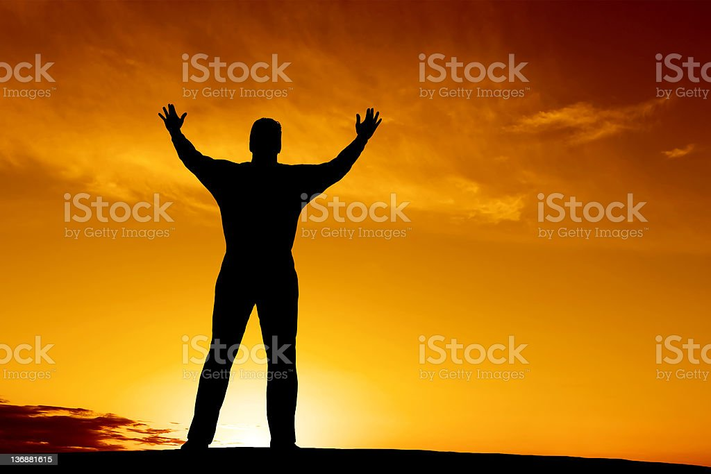 XL reverent man silhouette royalty-free stock photo