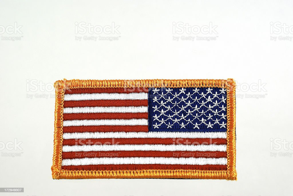 Reverse American Flag Patch for Army Combat Uniform royalty-free stock photo