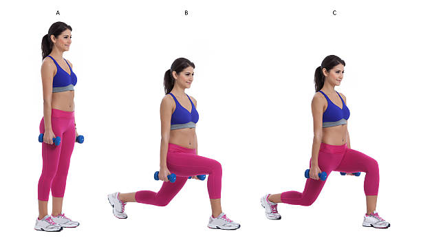 reverse dumbbell lunge - lunge stock photos and pictures