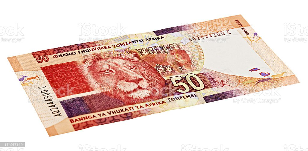 Reverse of new Fifty Rand South African banknote showing lion stock photo