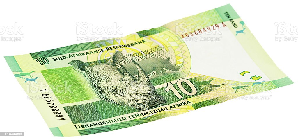 Reverse of new South African Ten Rand banknote wkith Rhino stock photo